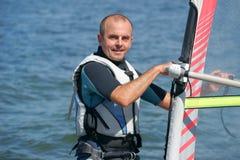 Windsurfing na jeziornym Nieslysz, Polska Obraz Royalty Free