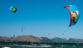 Windsurfing near formentor, spain Stock Images