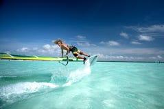 Windsurfing op Bonaire 2. Royalty-vrije Stock Fotografie