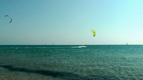 Windsurfing on The Prassonissi beach stock video