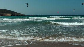 Windsurfing on The Prassonissi beach stock video footage