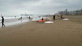 Windsurfing przy Scheveningen plażą Fotografia Stock