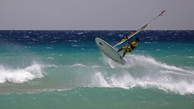 Windsurfing on Risco del Paso beach, Fuerteventura, Canary islands Stock Photo