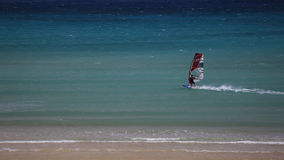 Windsurfing on Risco del Paso beach, Fuerteventura, Canary islands Stock Images