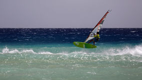 Windsurfing on Risco del Paso beach, Fuerteventura, Canary islands Royalty Free Stock Image