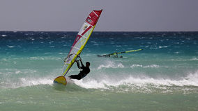Windsurfing on Risco del Paso beach, Fuerteventura, Canary islands Stock Photos