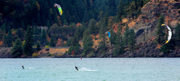 Windsurfing on River Royalty Free Stock Photos