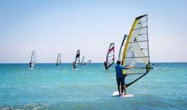 Windsurfing sails on the blue sea Stock Photos
