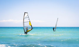 Windsurfing sails on the blue sea Royalty Free Stock Photography
