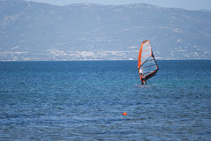 Windsurfing in Sardinia royalty free stock image
