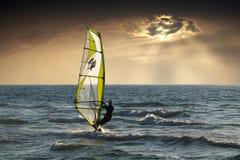 Windsurfing, Sea, Clouds, Sunset Stock Photos