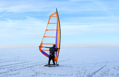 Windsurfing on sea ice Royalty Free Stock Images