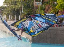 Windsurfing session in Siam park. PWA2014 Tenerife Stock Image