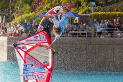 Windsurfing session in Siam park. PWA2014 Tenerife Royalty Free Stock Photography