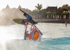 Windsurfing session in Siam park. PWA2014 Tenerife Royalty Free Stock Image