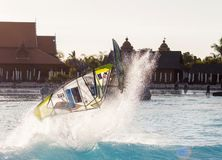 Windsurfing session in Siam park. PWA2014 Tenerife Royalty Free Stock Images