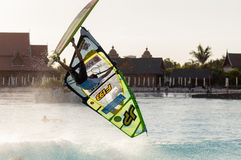 Windsurfing session in Siam park. PWA2014 Tenerife Royalty Free Stock Photos