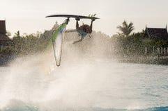Windsurfing session in Siam park. PWA2014 Tenerife Royalty Free Stock Photo