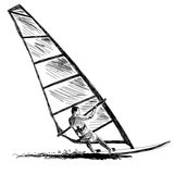 Windsurfing sketch Royalty Free Stock Photos
