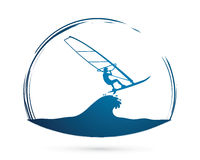 Windsurfing. Sport design graphic vector Stock Photos