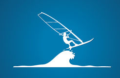 Windsurfing. Sport design graphic vector Stock Images