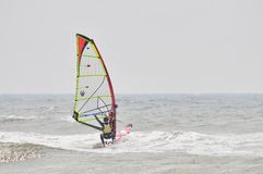 Windsurfing in spray. Windsurfing wind the line, sparking endless waves Stock Image
