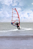 Windsurfing in a storm Stock Images