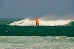Windsurfing the storm. Y seas north Corralejo, Fuerteventura Royalty Free Stock Photo