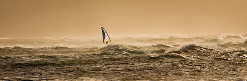 Windsurfing at sunset. A windsurfer rides along the beautiful Maui's shores a few minutes before sunset stock photos