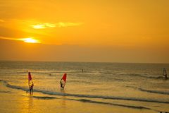 Windsurfing at sunset Stock Photos