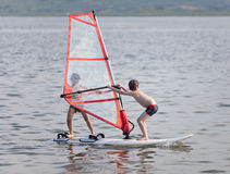 Windsurfing tandem Stock Photography