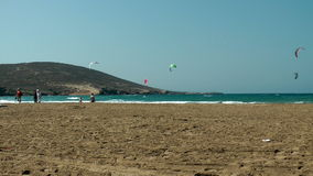 Windsurfing on Thef Prassonissi beach stock video footage