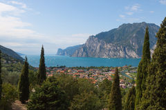 Windsurfing on Torbole Lake Garda, Italy Stock Photography