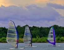 Windsurfing venue on the lake Royalty Free Stock Images