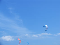 Windsurfing via paragliders Royalty Free Stock Images