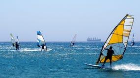 Windsurfing w morzu śródziemnomorskim Obrazy Stock