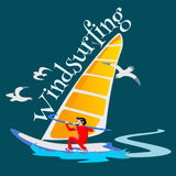 Windsurfing water extreme sports, isolated design element for summer vacation activity concept, cartoon wave surfing Stock Photography