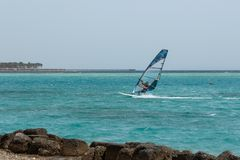Windsurfing, windsurfer young man on a windsurf. On sea water royalty free stock photos