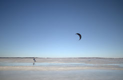 Windsurfing in winter Stock Image