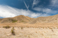 Windswept plains of Lindis Pass Royalty Free Stock Photo
