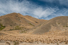 Windswept plains of Lindis Pass Stock Photo