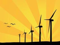 WindTriebwerkanlagen am Sommer stockfoto