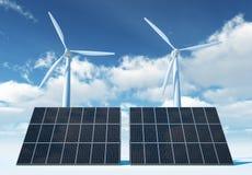 Windturbin och sol- panel Royaltyfri Bild