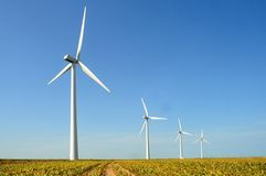 Windturbine. In fields in france royalty free stock photos