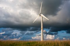 Windturbine with a beautiful Dutch Cloudscape Stock Image