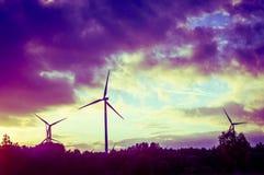 Windturbine during beautiful sunset Royalty Free Stock Photography