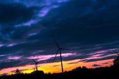 Windturbine during beautiful sunset Stock Images