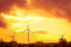 Windturbine during beautiful sunset Stock Images