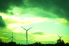 Windturbine during beautiful sunset Stock Photography