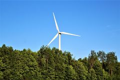 Windturbine in Chateaugay, Franklin County, in upstate New York, Verenigde Staten royalty-vrije stock foto's
